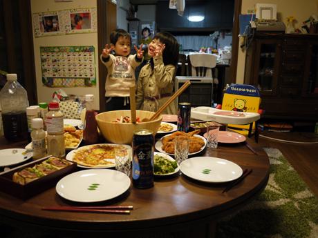 ちゃぶ台で夕食