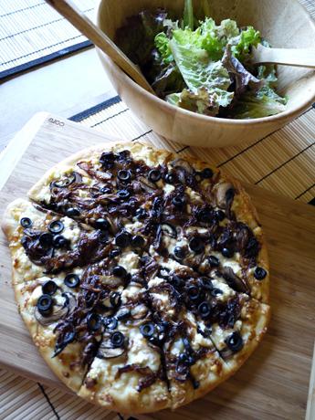 タマネギキノコリコタピザ