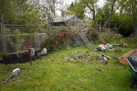 花壇と芝生の境に